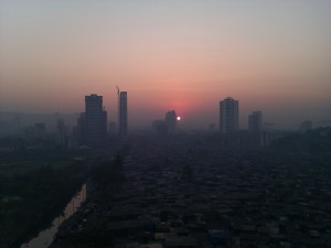 Slums in Malad at Sunrise
